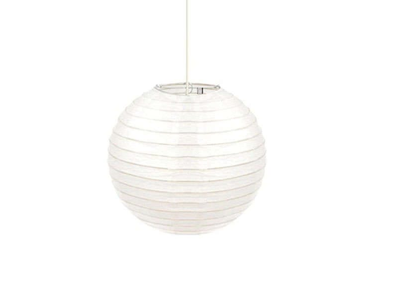Suspension en papier armature bambou coloris blanc vente for Suspension luminaire papier