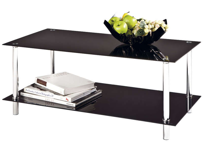 Table basse rectangulaire en verre happy vente de table basse conforama - Table basse en verre trempe noir ...