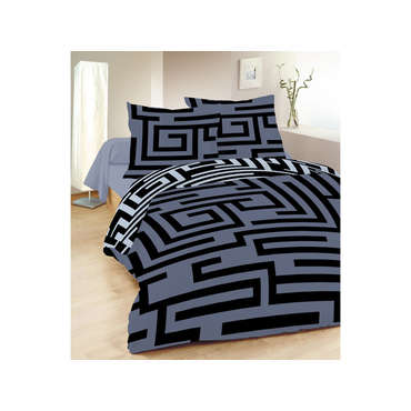 housse de couette 2 personnes 240x220 cm 2 taies d 39 oreiller labyrinthe vente de parure de. Black Bedroom Furniture Sets. Home Design Ideas