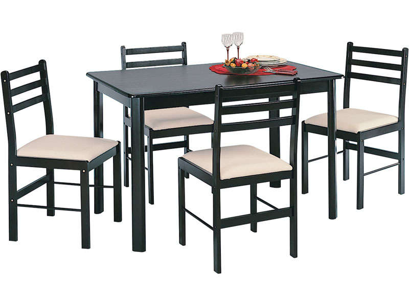 ensemble table 4 chaises new quatro dark chez conforama. Black Bedroom Furniture Sets. Home Design Ideas