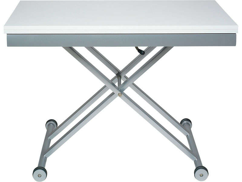 Table rectangulaire avec allonge 110 cm max lift coloris - Table basse ajustable en hauteur ...