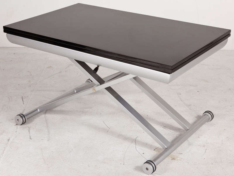 Table rectangulaire avec allonge 110 cm max lift coloris - Table salon modulable hauteur ...