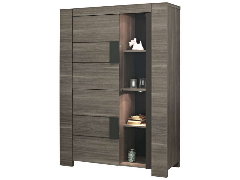 argentier 2 portes atlanta coloris ch ne fusain vente de biblioth que et vitrine conforama. Black Bedroom Furniture Sets. Home Design Ideas