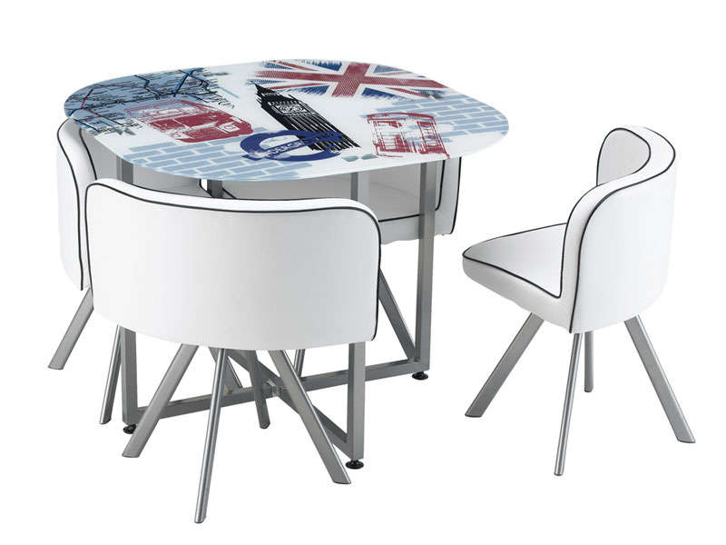 Ensemble table 4 chaises union vente de ensemble table for Table avec chaise encastrable