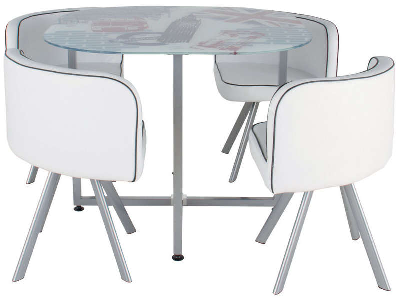 Petite table de cuisine ronde for Table avec chaise encastrable conforama