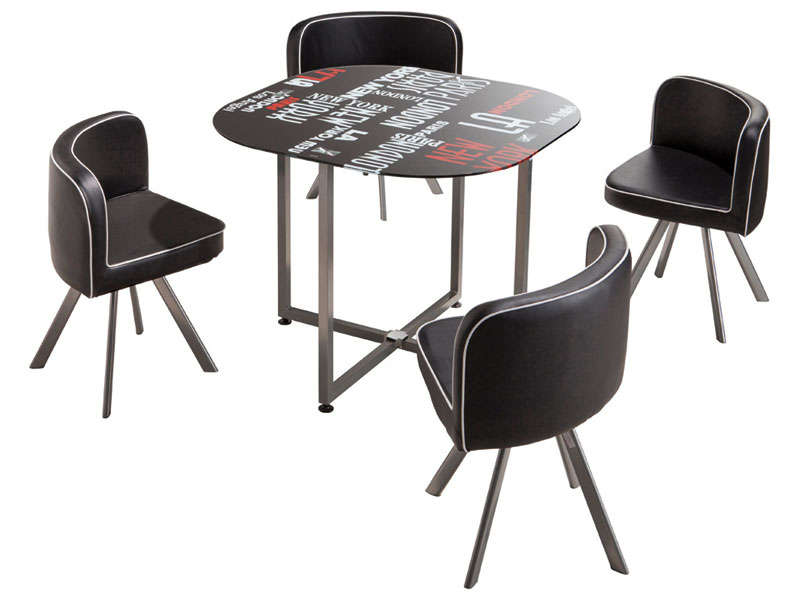 Table ronde chaise encastrable for Table salle a manger gain de place