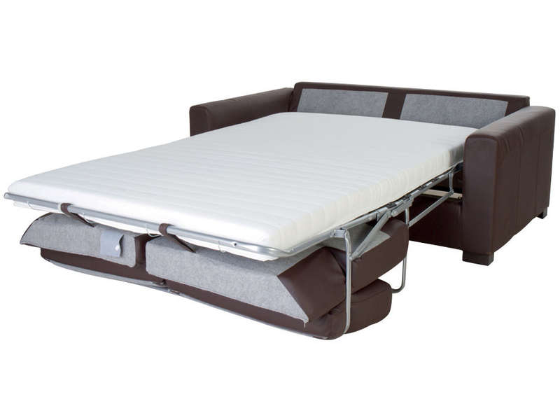 canap convertible 2 places en polyur thane matelas 10 cm soflit coloris chocolat vente de. Black Bedroom Furniture Sets. Home Design Ideas