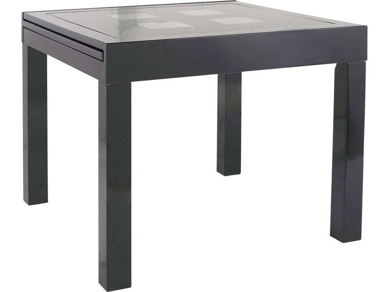 Table rectangulaire avec allonge 180 cm max comete ii for Table cuisine noire