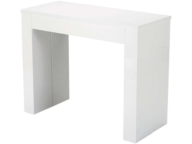 Table rectangulaire peninsule coloris blanc vente de for Table salle a manger extensible conforama
