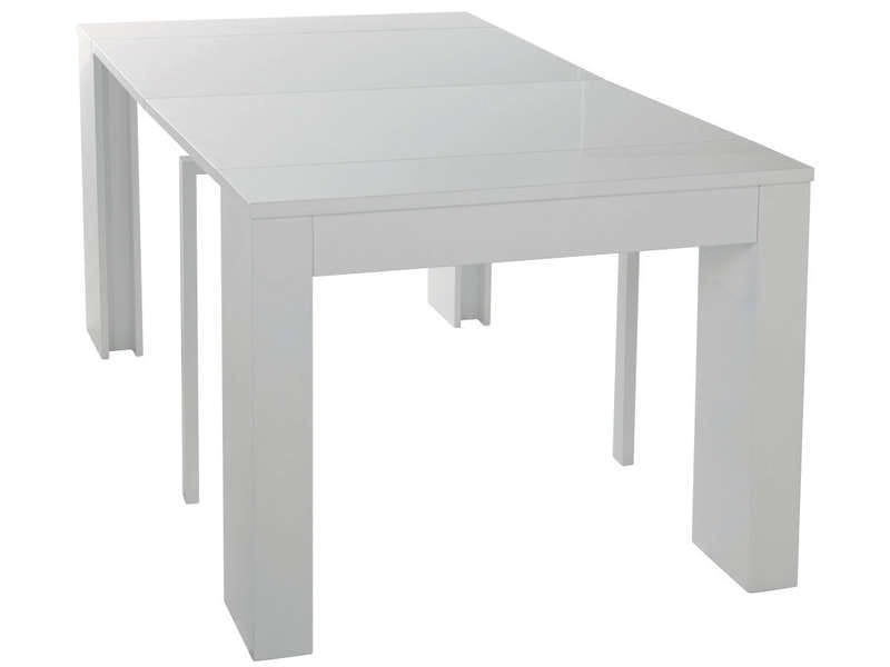 Console extensible cm max peninsule coloris blanc for Table extensible jusqu a 14 personnes