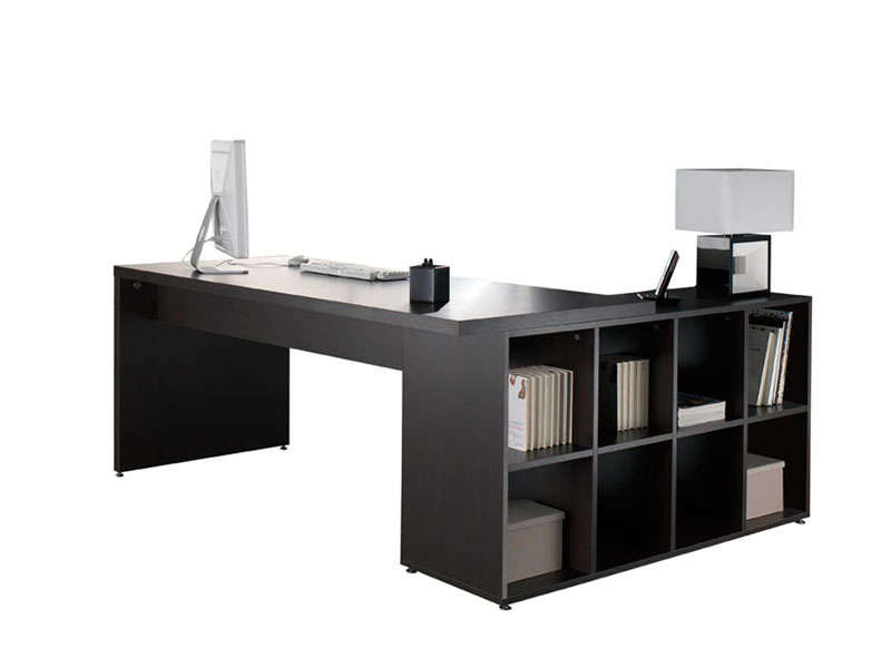 bureau 180 cm retour walwen coloris weng vente de bureau conforama. Black Bedroom Furniture Sets. Home Design Ideas