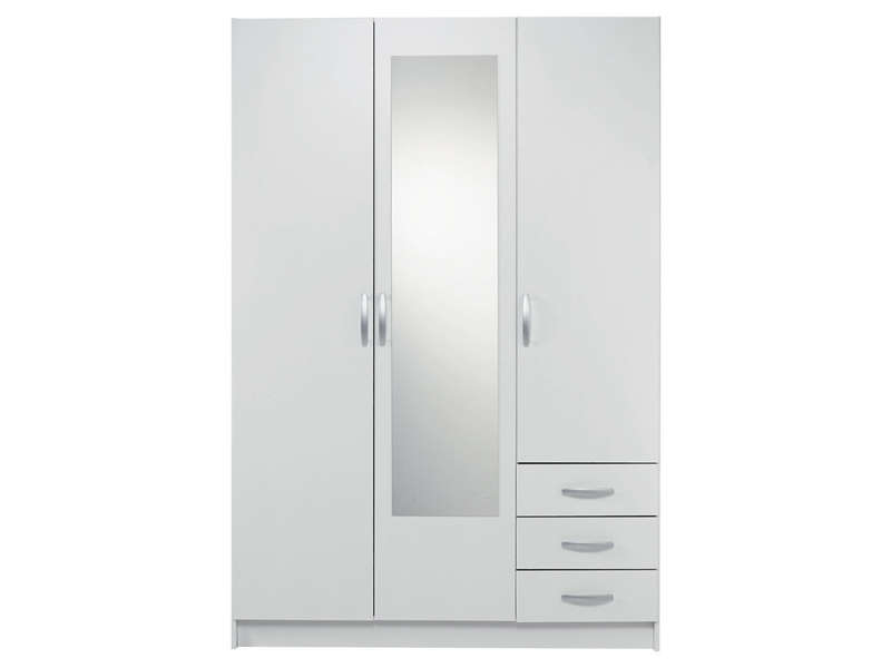 armoire 3 portes 3 tiroirs spot coloris blanc pas cher avis et prix en promo. Black Bedroom Furniture Sets. Home Design Ideas