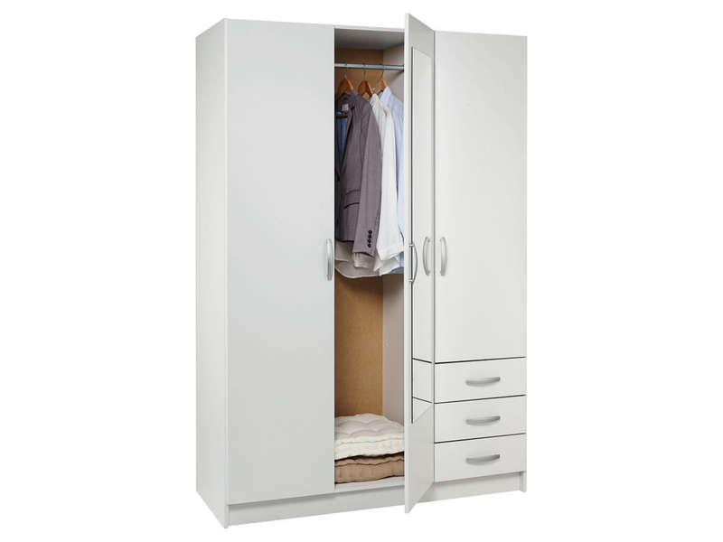 armoire 3 portes 3 tiroirs spot coloris blanc vente de armoire conforama. Black Bedroom Furniture Sets. Home Design Ideas