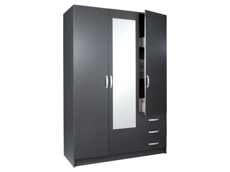 armoire 3 portes 3 tiroirs spot coloris b ne vente de. Black Bedroom Furniture Sets. Home Design Ideas