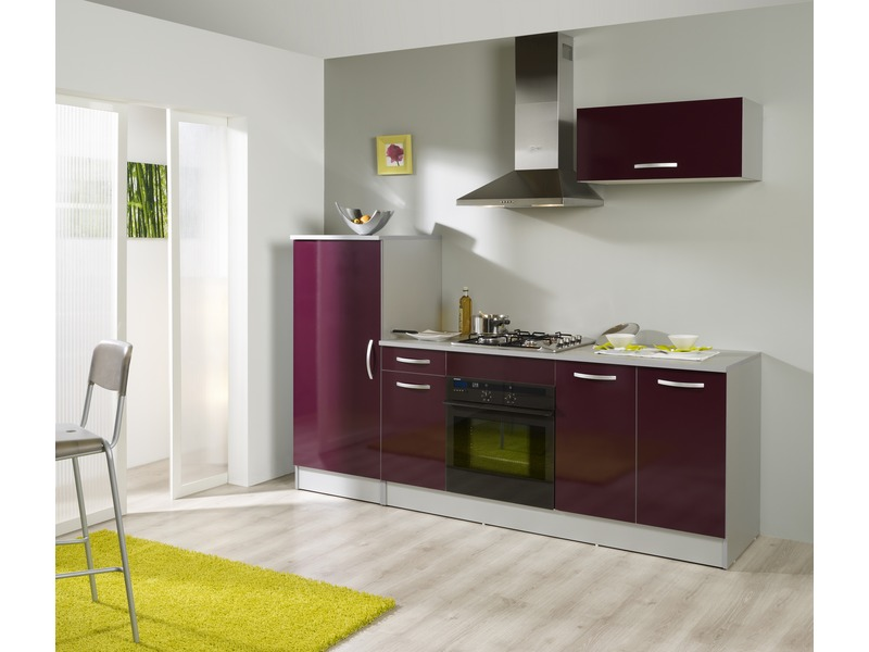 ensemble cuisine 240 cm salsa d cor aubergine vente de les cuisines pr ts emporter conforama. Black Bedroom Furniture Sets. Home Design Ideas