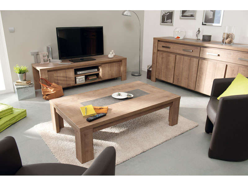 Table basse rectangulaire brest coloris ch ne vente de Sejour salon complet