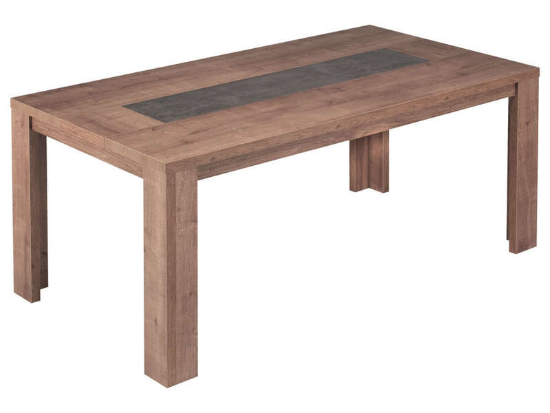 Table rectangulaire 180 cm allonge en option brest coloris ch ne vente de table de cuisine - Table rectangulaire a rallonge ...