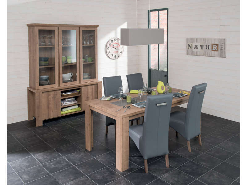 table rectangulaire 180 cm allonge en option brest coloris ch ne vente de table de cuisine. Black Bedroom Furniture Sets. Home Design Ideas
