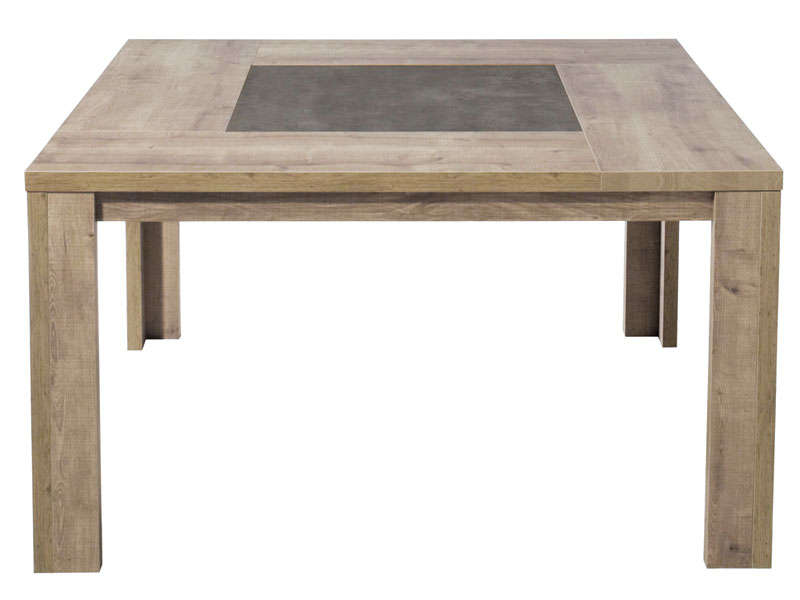 Table carr e 140 cm brest coloris ch ne vente de table for Table sejour carree avec rallonge