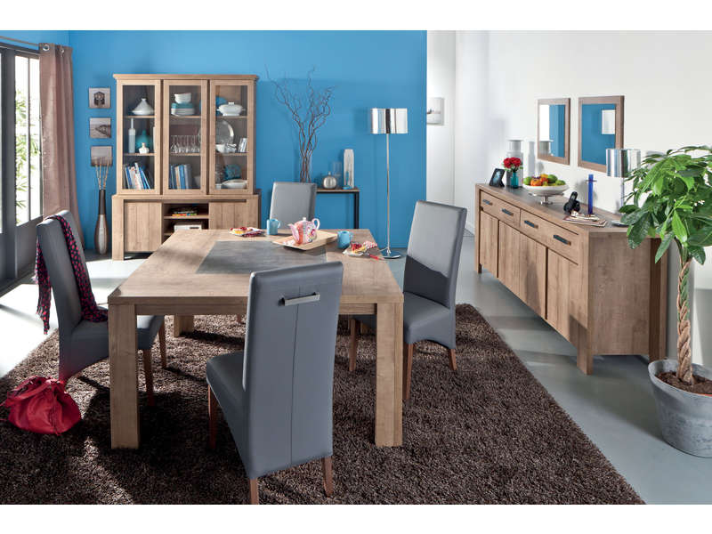 Table carrée 140 cm BREST coloris chêne - Vente de Table de ...