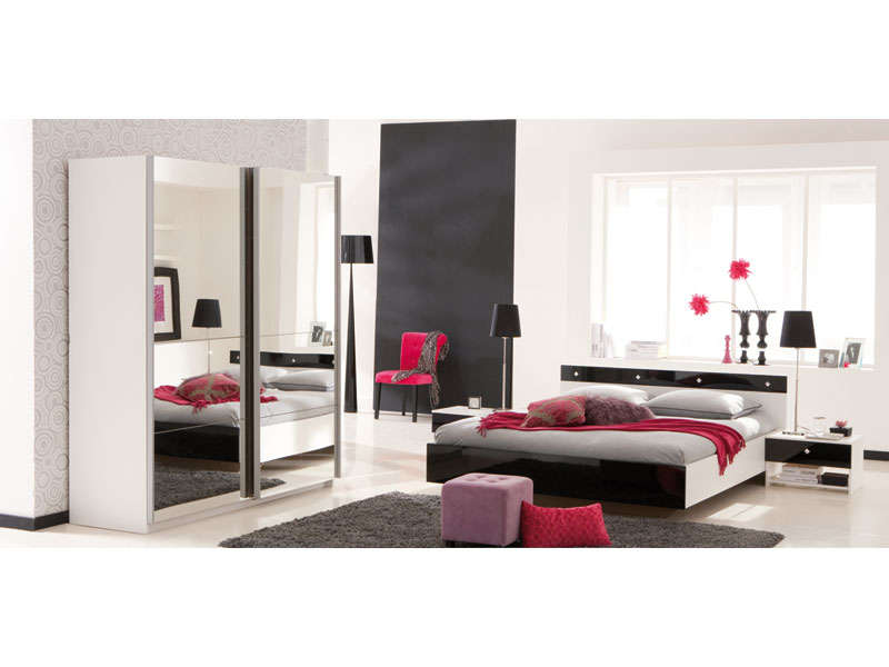 lit 2 personnes 140 x 190 cm strass coloris blanc noir laqu vente de lit adulte conforama. Black Bedroom Furniture Sets. Home Design Ideas