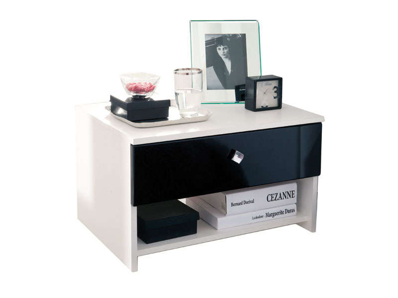 Table de chevet noir et blanc - Table de chevet design laque blanc ...