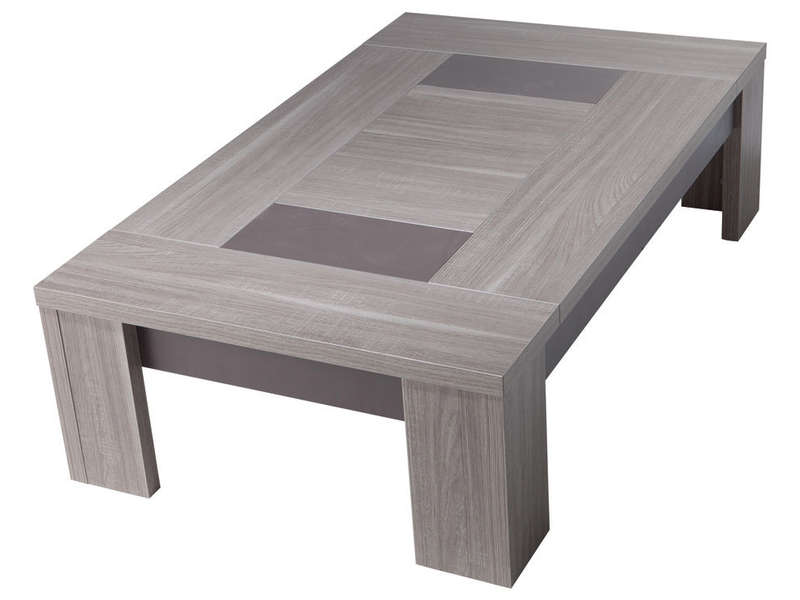 Table basse rectangulaire atlanta coloris ch ne fusain for Table de salon plexiglass