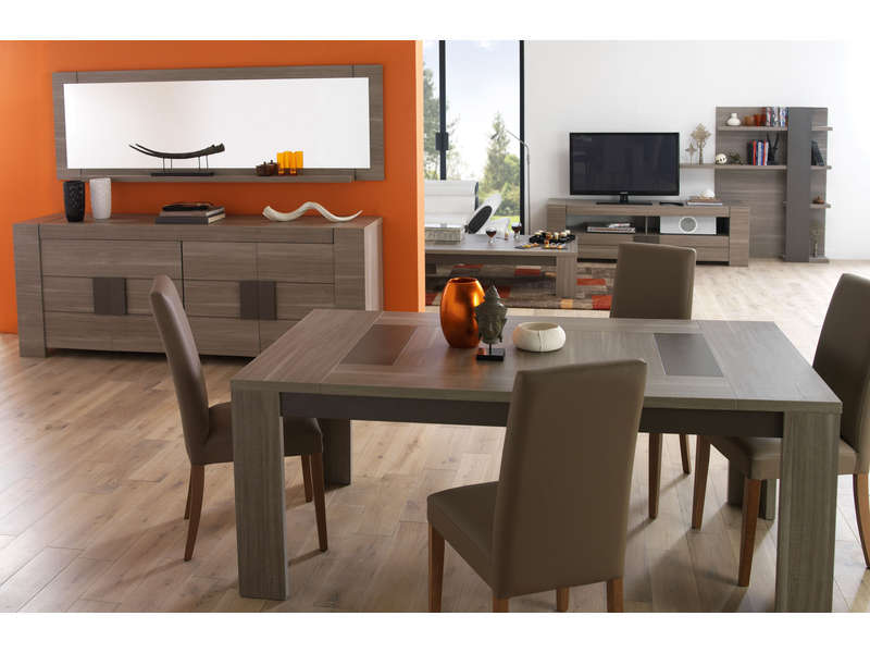 Table rectangulaire 180 cm atlanta coloris ch ne fusain for Salon complet conforama