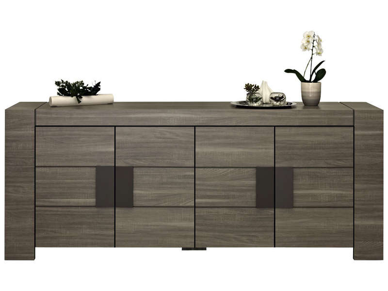 Buffet 4 portes atlanta coloris bois vente de buffet for Salle a manger grise conforama