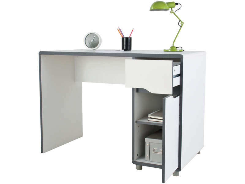 bureau 1 porte 1 tiroir moby coloris blanc gris vente de bureau enfant conforama. Black Bedroom Furniture Sets. Home Design Ideas