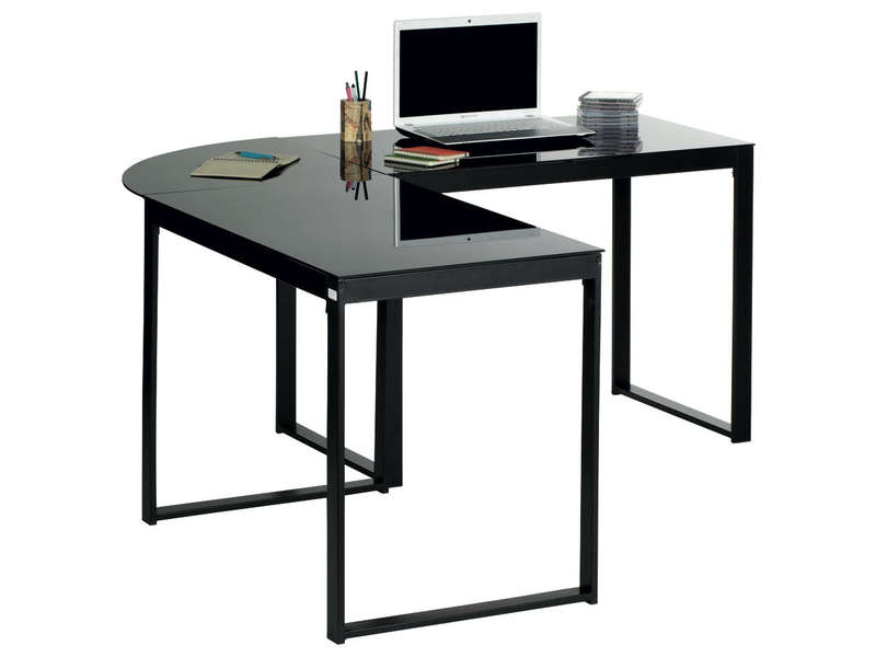 bureau d 39 angle blacky coloris noir vente de bureau conforama. Black Bedroom Furniture Sets. Home Design Ideas
