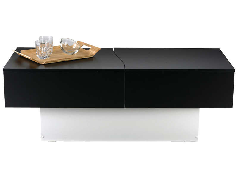 Table basse city box coloris noir blanc vente de table - Table basse blanche pas chere ...