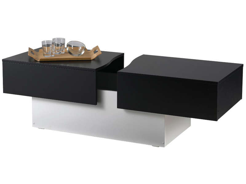 Table basse city box coloris noir blanc vente de table basse conforama - Table de salon noire ...
