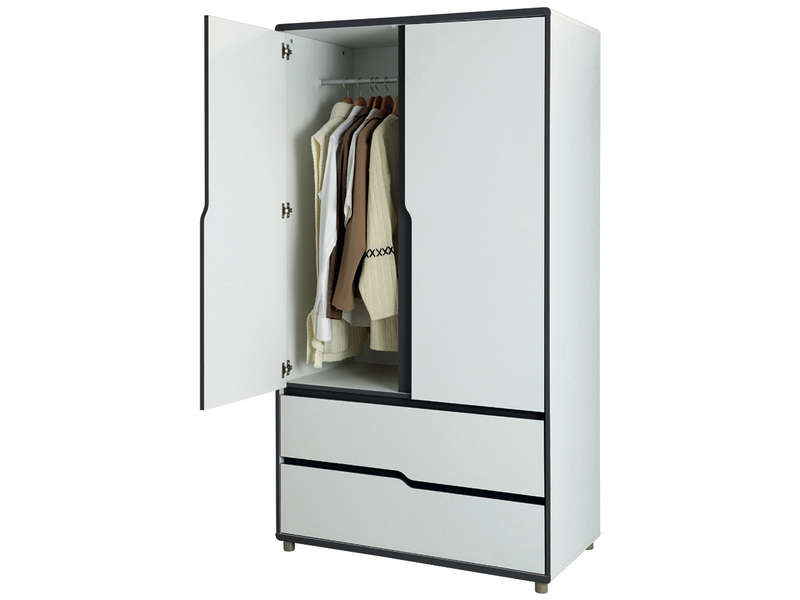 armoire 2 portes 2 tiroirs moby coloris blanc gris vente. Black Bedroom Furniture Sets. Home Design Ideas