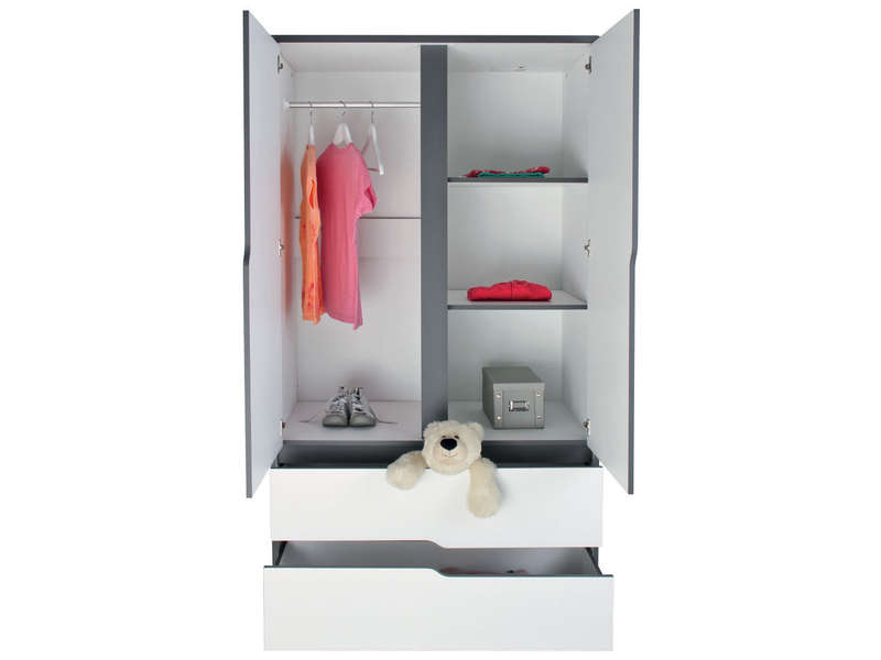 armoire 2 portes 2 tiroirs moby coloris blanc gris vente de armoire enfant conforama. Black Bedroom Furniture Sets. Home Design Ideas