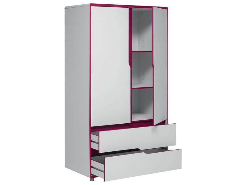 armoire moby blanc fuchsia vente de armoire enfant conforama. Black Bedroom Furniture Sets. Home Design Ideas