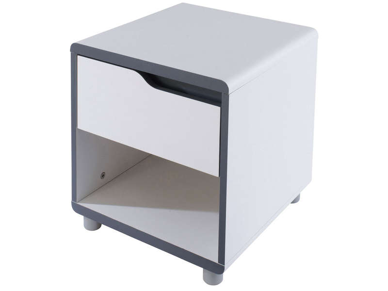Chevet 1 tiroir moby coloris blanc gris vente de chevet adulte conforama - Table de chevet blanche ikea ...