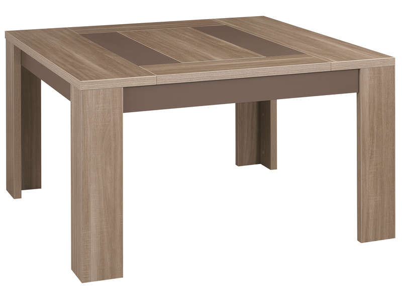 Table carr e 130 cm atlanta coloris ch ne fusain vente for Table carree avec rallonge integree