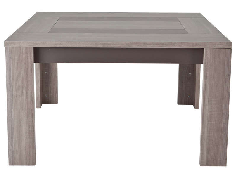 Table carr e 130 cm atlanta coloris ch ne fusain vente for Table carree salle a manger avec rallonge