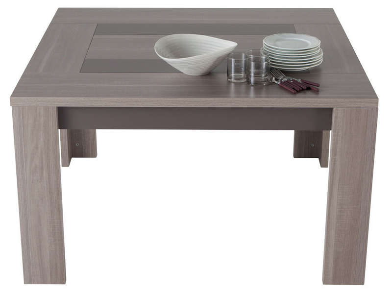 Table carr e 130 cm atlanta coloris ch ne fusain vente for Table carree avec rallonge