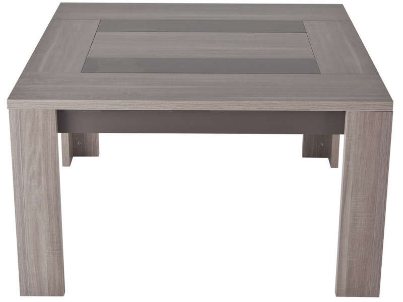 Table carr e 130 cm atlanta coloris ch ne fusain vente - Table blanche carree avec rallonges ...