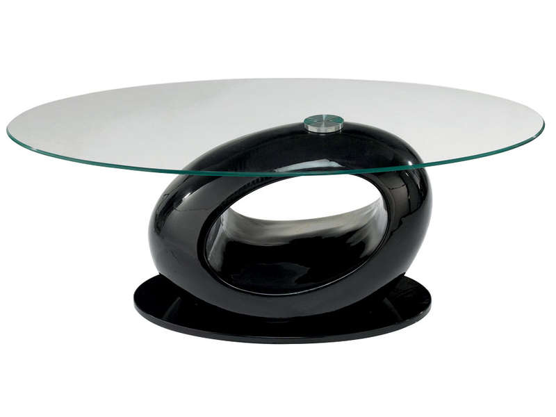 Table basse egg coloris noir vente de table basse - Table de salon conforama en verre ...