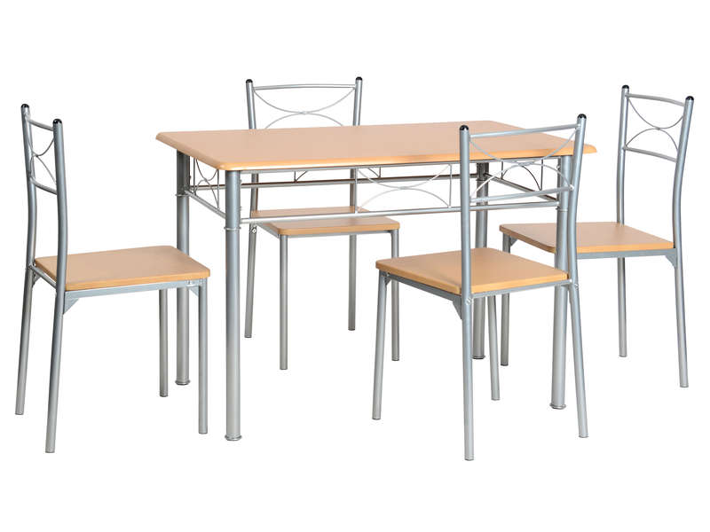 Ensemble table 4 chaises sernan coloris gris h tre for Table de cuisine et chaises