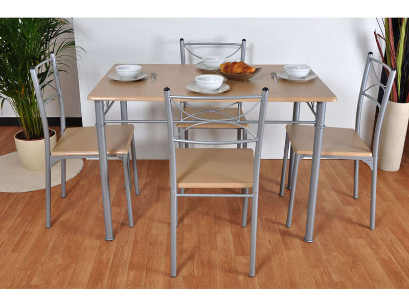 Ensemble table 4 chaises sernan coloris gris h tre for Table et chaises de cuisine design