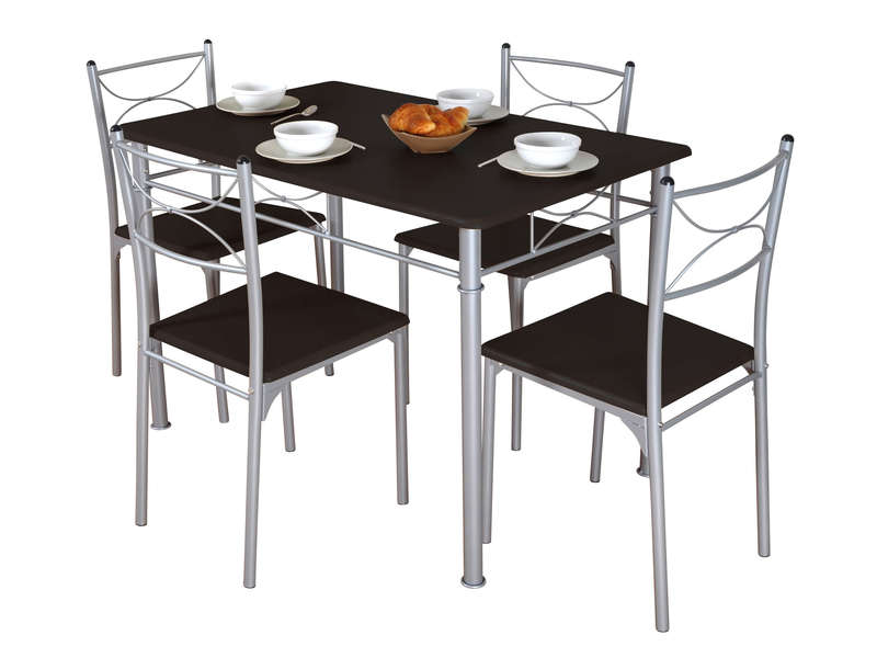 Ensemble table 4 chaises sernan coloris gris weng for Chemin de table conforama