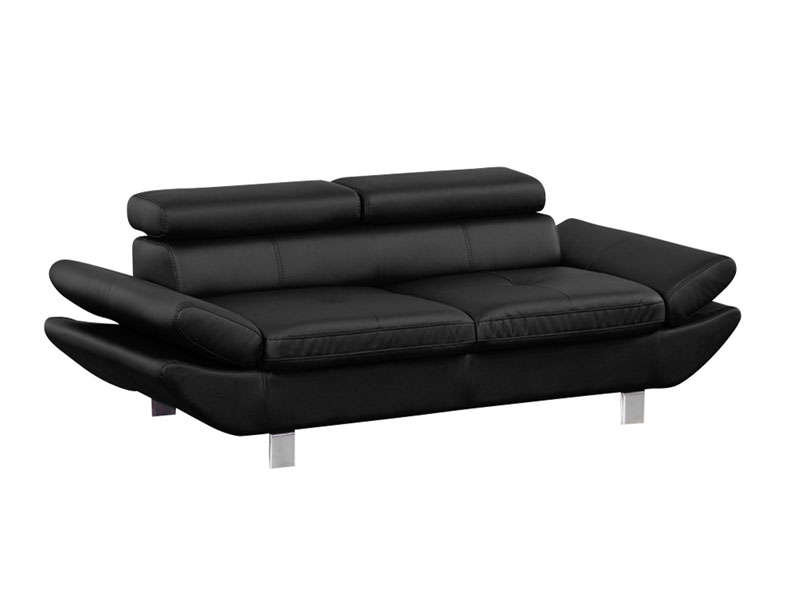 Canap fixe 3 places loft coloris noir en pu vente de for Canape 7 place conforama