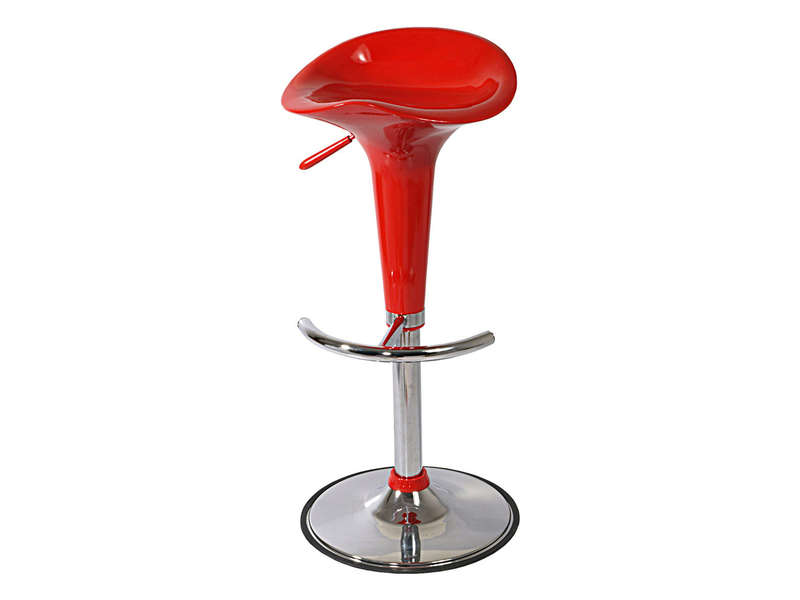 Tabouret de bar r glable avec assise rotative pump coloris rouge vente de b - Tabourets de bar rouge ...