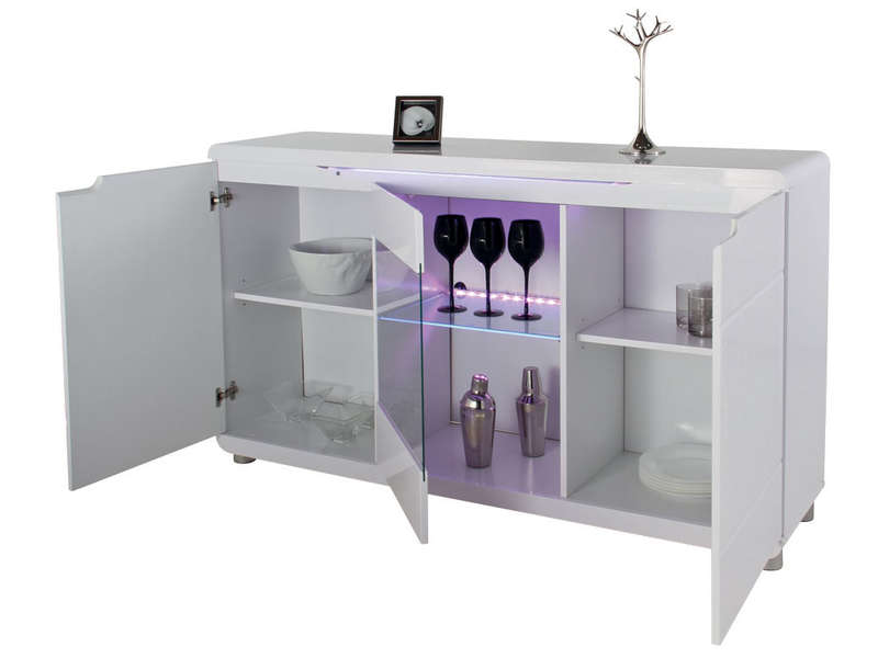 Buffet laqu blanc et noir conforama for Buffet blanc laque conforama