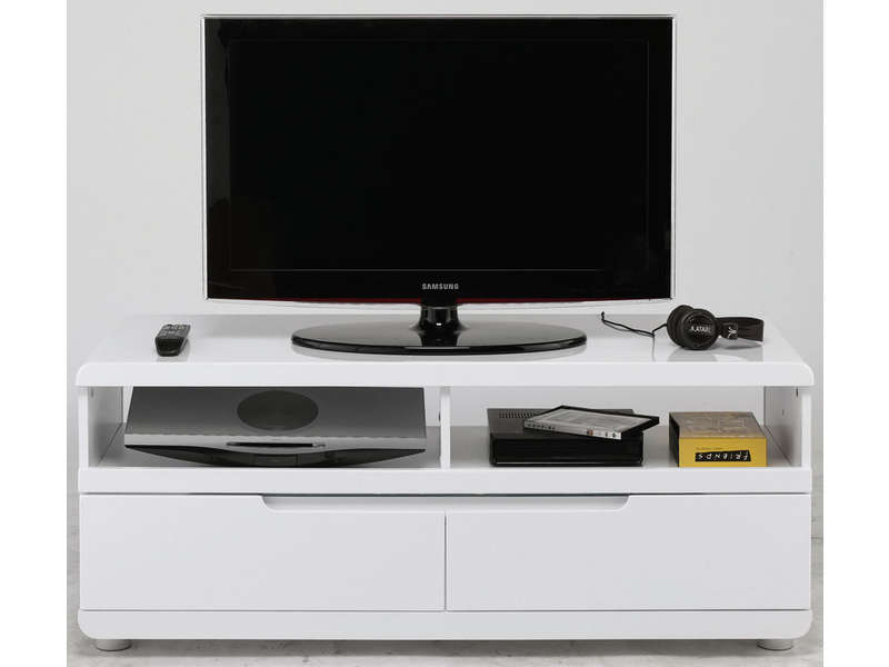 Meuble TV 120 cm finition laqué -> Meuble Tv DAngle Blanc Conforama