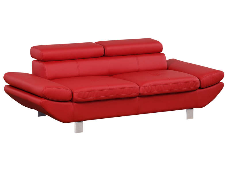Canap fixe 3 places loft coloris rouge en pu vente de for Canape clic clac conforama